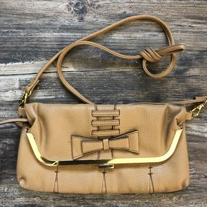 Jessica Simpson crossbody clutch bag tan gold EUC
